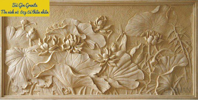 phù điêu hình hoa sen