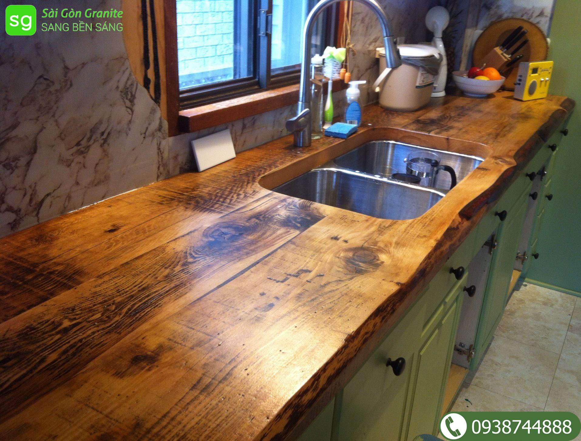 Mặt bàn bếp bằng gỗ
