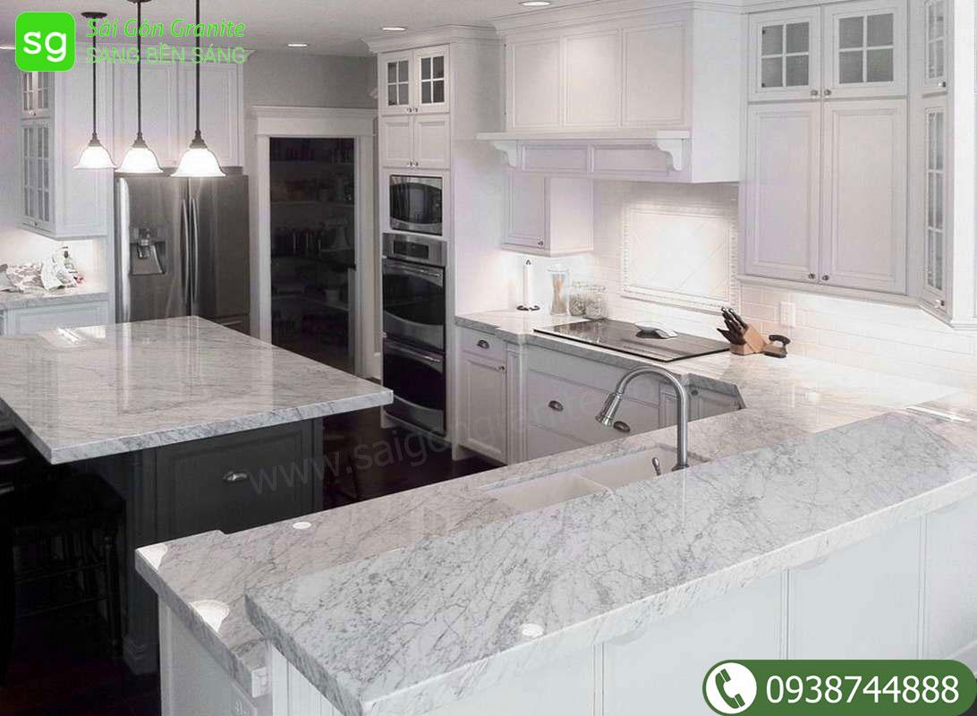 Mặt đá bàn bếp marble màu trắng